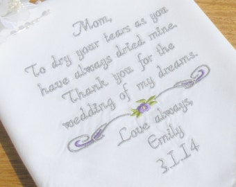 Embroidered Wedding Handkerchief, Mother of the Birde, Embroidered Wedding Handkerchiefs Wedding Gifts, by Canyon Embroidery