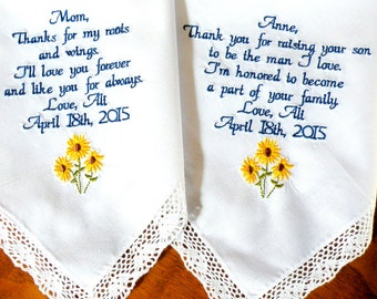 Sunflower Wedding theme, Embroidered Wedding Handkerchief, Sunflower, Wedding Gifts, Mom Mother In Law Gifts Gift for Mom Canyon Embroidery
