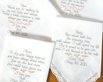 Embroidered Wedding Handkerchiefs, Parents of the Bride & Groom Gifts, Wedding Handkerchief, Wedding Gifts, Set of 4, by Canyon Embroidery
