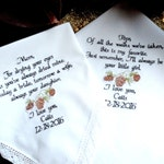 Custom Personalized Wedding Gifts Pine Cone Embroidered Handkerchief Rustic Wedding Pinecone Wedding Theme Gifts By Canyon Embroidery