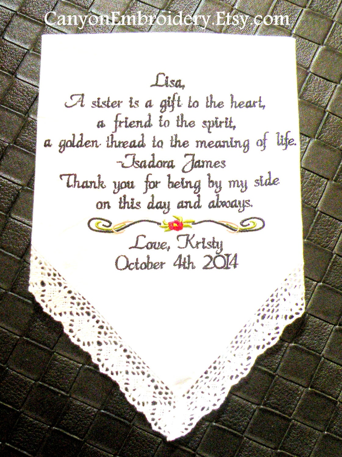 Sister Gift Embroidered Wedding Handkerchief Little Sister Gift