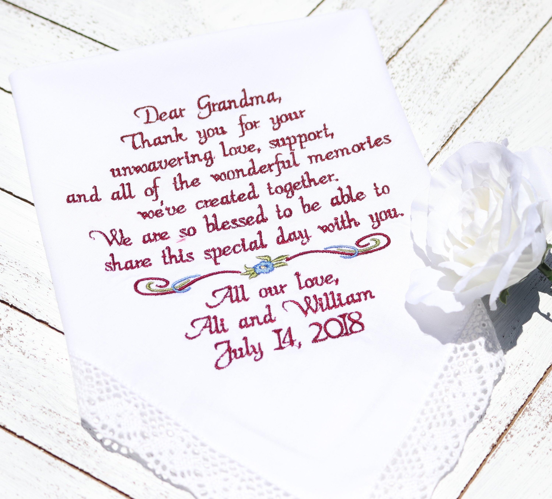 Embroidered Wedding Handkerchiefs Wedding Gift For Grandma Of The
