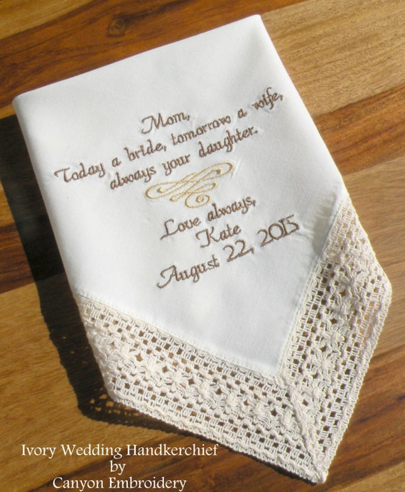 Ivory Wedding hanky Mother of the Bride Future Mother InLaw | Etsy