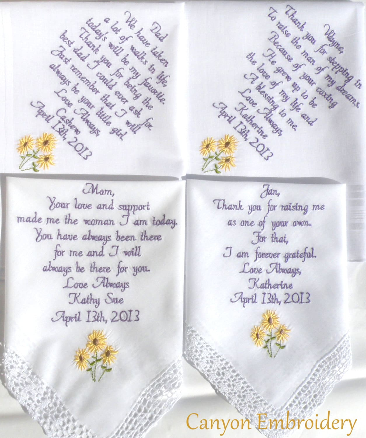 embroidered handkerchiefs wedding initials sunflower wedding theme embroidered handkerchiefs sunflowers set of four by canyon embroidery