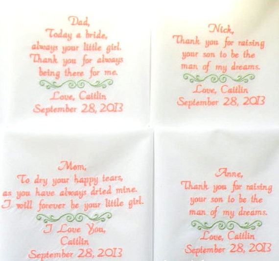 Bestickte Taschentucher Hochzeitsgeschenke Fur Eltern Die Etsy