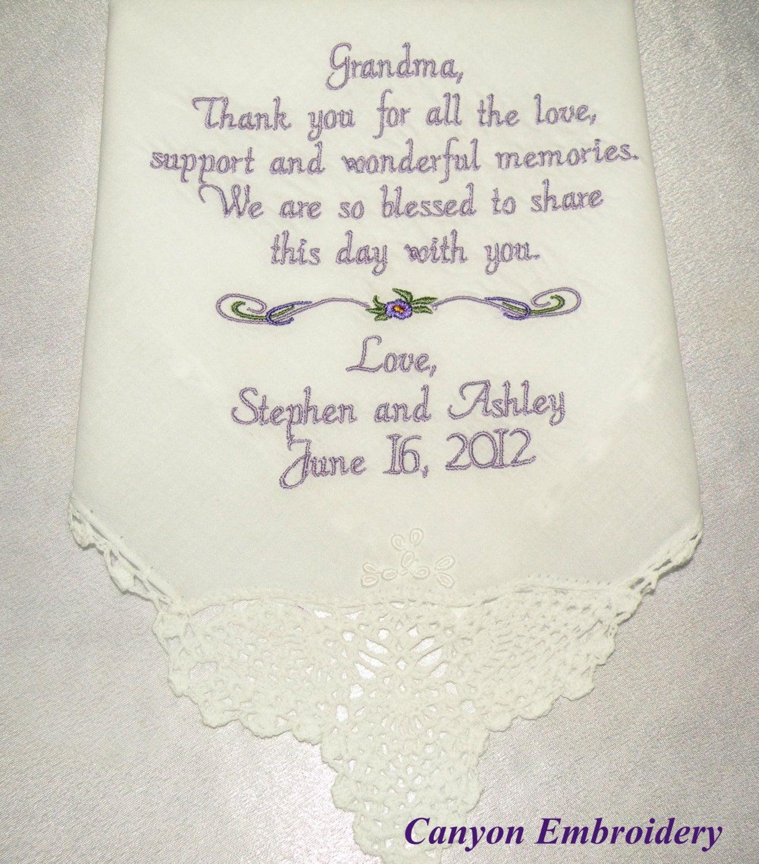 Grandma Gift Grandmother Wedding Gift Embroidered Wedding