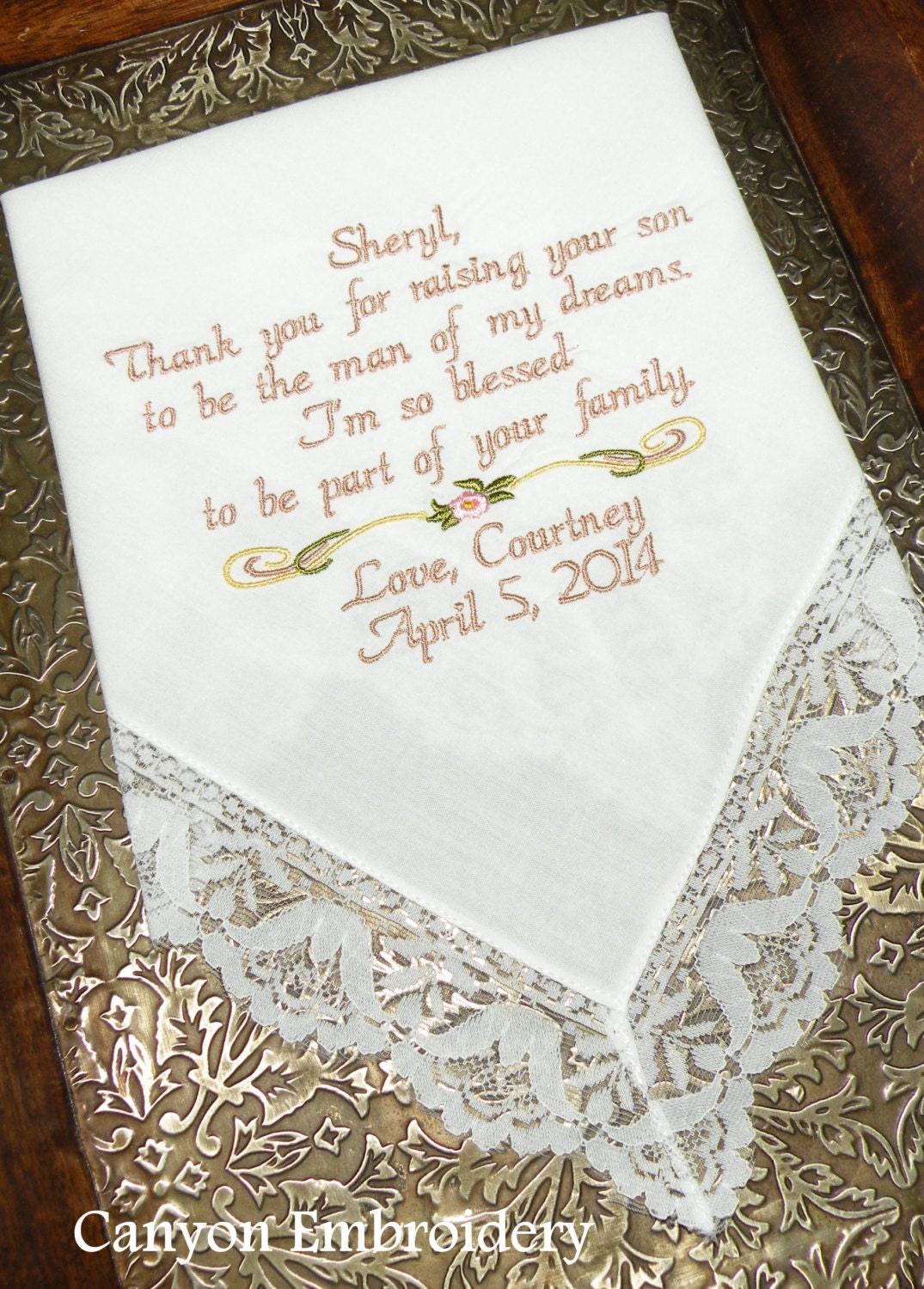 Mother Of The Bride Embroidered Wedding Handkerchief Wedding Gift