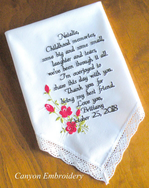 Wedding Gift Best Friend Embroidered Wedding Handkerchief Red
