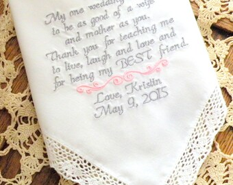MOTHER OF the BRIDE, To Dry Your Happy Tears, Personalized, Embroidered, Wedding, Hankerchiefs, by Canyon Embroidery