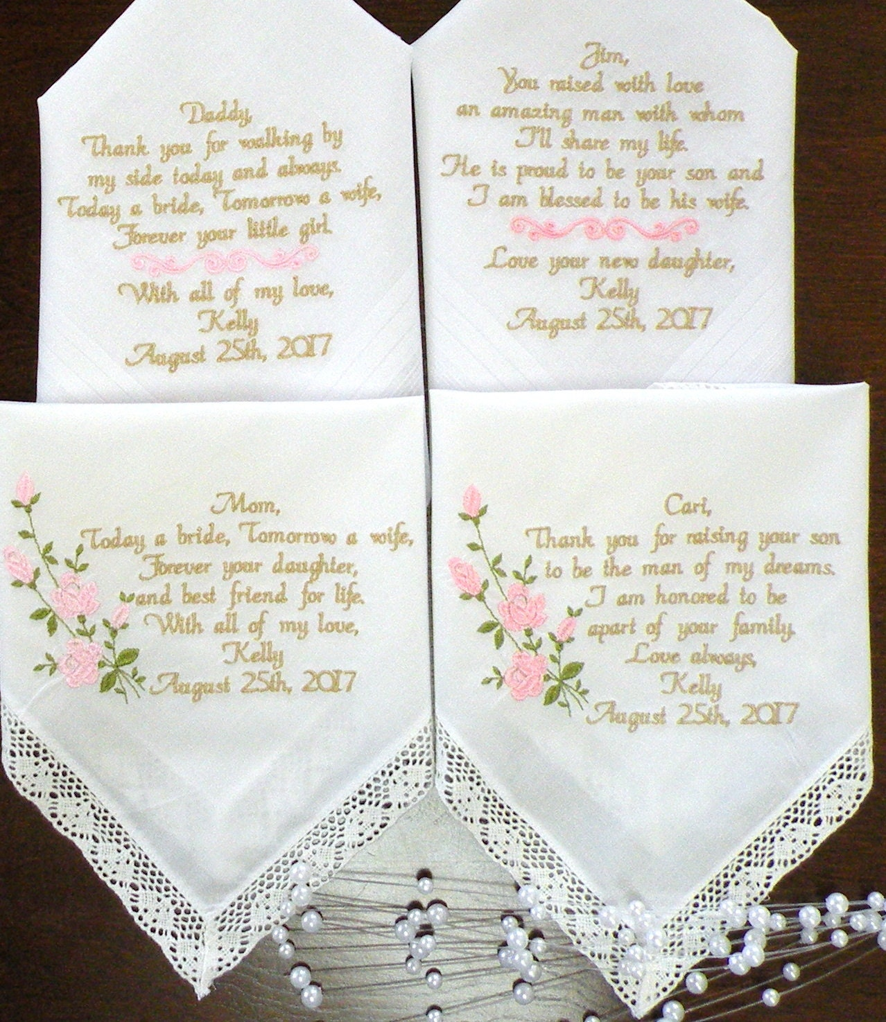 Wedding Handkerchiefs For The Family: Embroidered Wedding Handkerchiefs Wedding Day Gifts Mother
