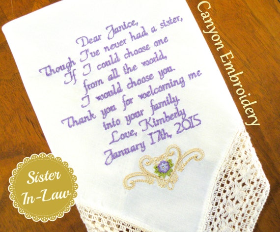 Sister Sister In Law Wedding Gift Embroidered Wedding Etsy