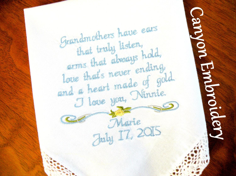 Grandmother Wedding Gift: Wedding Gift, Embroidered Wedding Handkerchief, For
