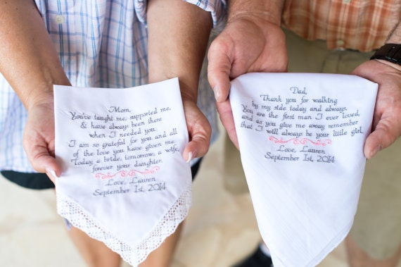 Embroidered Wedding Handkerchiefs Mom And Dad Wedding Gifts