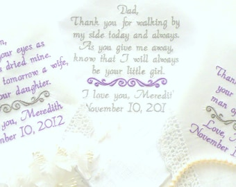 Wedding Hankerchiefs, Handkerchief, Parents Gifts, Wedding Gift, Hankerchief for Mother of the Bride, Mother in-law, By Canyon Embroidery