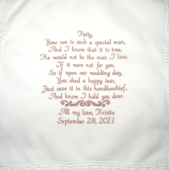 Personalized Hanky Poem Saying For Mother In Law Of The Bride Etsy