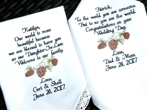 Daughter Wedding Gift Son Wedding Gift In Law Embroidered Etsy
