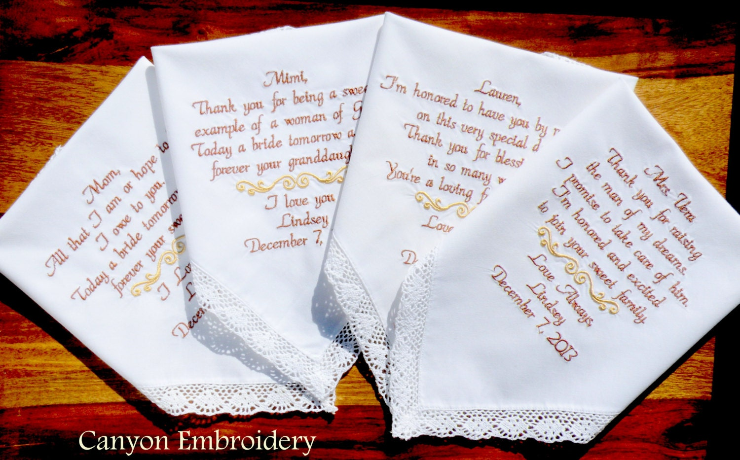 Wedding Handkerchiefs For The Family: Embroidered Wedding Handkerchiefs Wedding Gift Set Of Four
