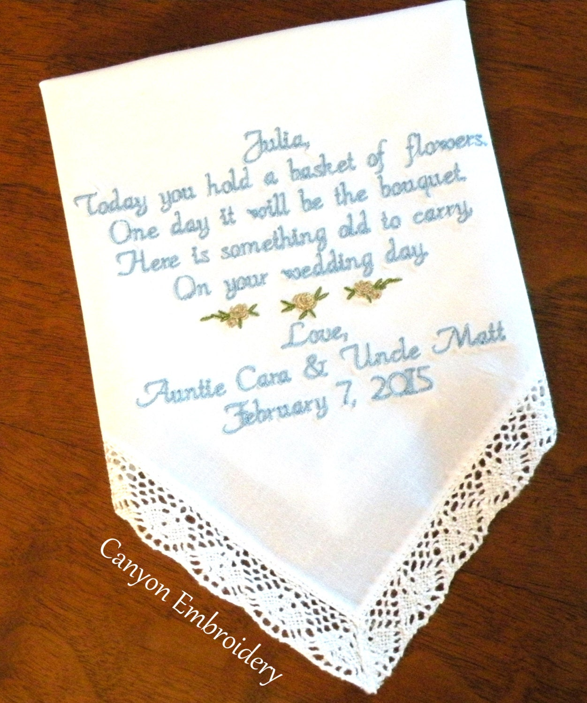 Flower Girl Wedding Gift Embroidered Wedding Handkerchief