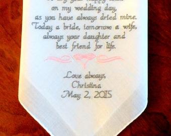 Wedding Handkerchief, MOM Gift, Embroidered Wedding Handkerchief Gift for Mom wedding gift for Mom Mother Wedding Gifts By Canyon Embroidery
