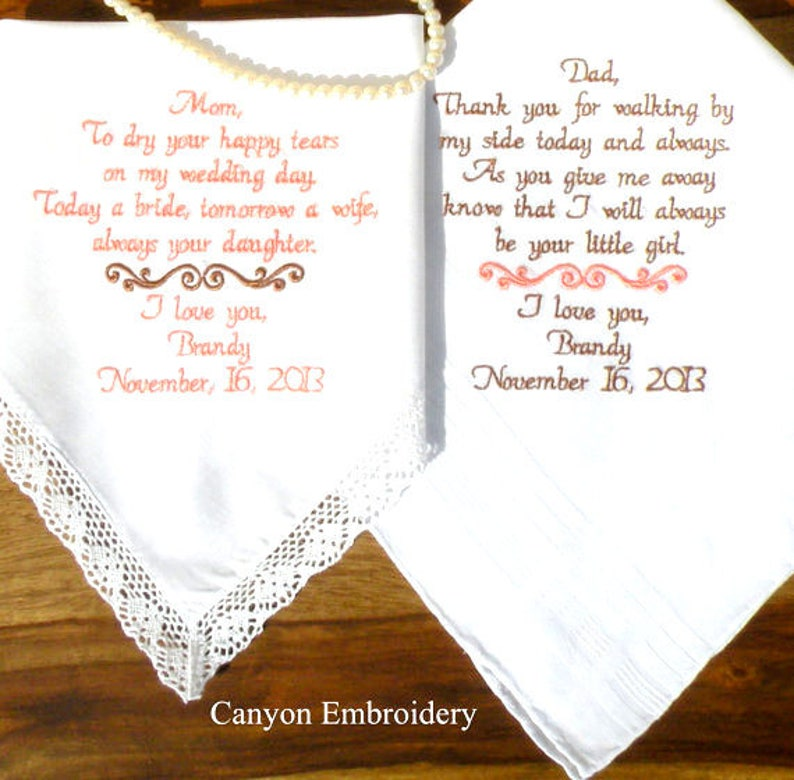 Embroidered Wedding Gifts By Canyon Embroidery Handkerchiefs Embroidered Wedding Handkerchiefs Mother /& Father of the Bride Wedding Gift