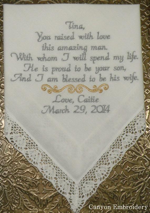 Mère du marié personnalisé brodé mouchoir présents Hankie faveur