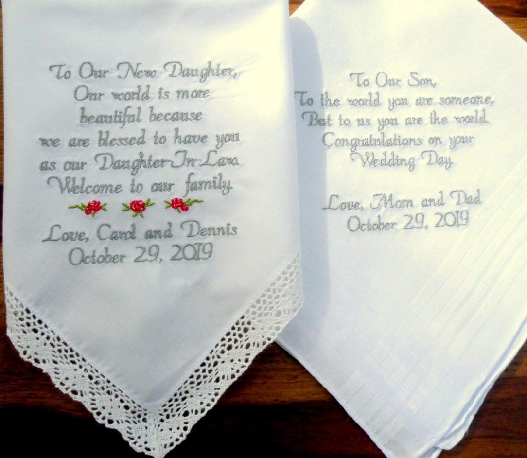 Etsy Wedding Gifts: Embroidered Wedding Handkerchiefs Wedding Gift Daughter