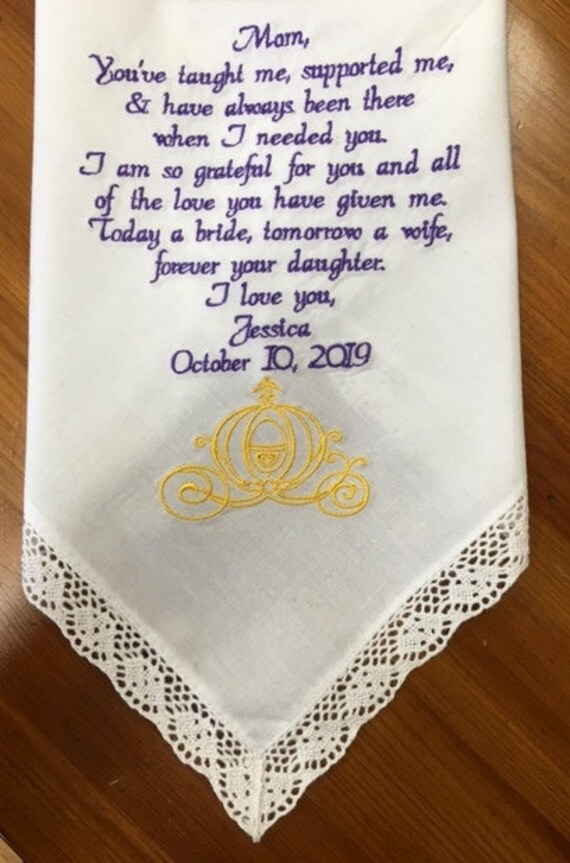 Embroidered Wedding Handkerchief Gift For Mom Mother Of The Etsy