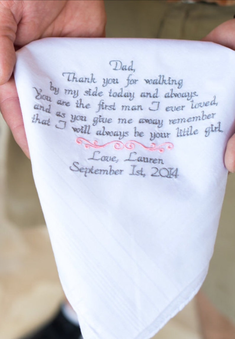 8570eb0e9d Gift for Dad Wedding Gifts Embroidered Wedding Handkerchief