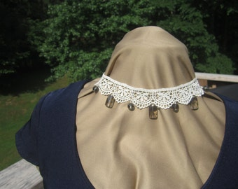 Lace Choker with gray crystal beads