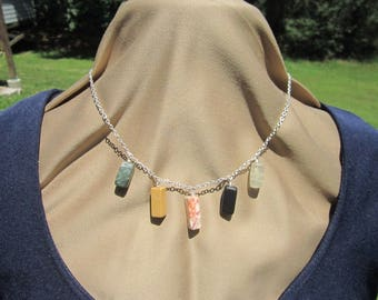 Fine cable silver chain necklace with rectanuglar wire wrapped stone pendants