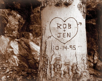 Personalized Wedding Print, Personalized Couples Gift Idea, Names Carved in Tree, Custom Gift for Boyfriend, Gift for Husband