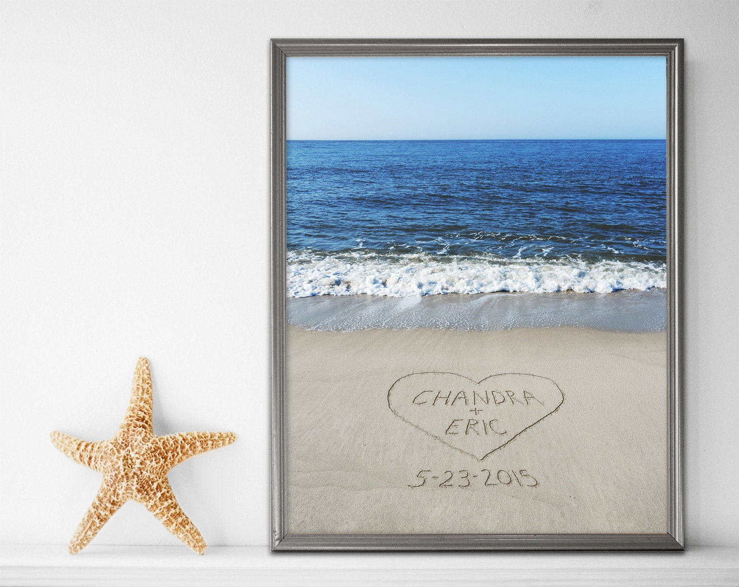 Sand Writing Personalized Print Beach Wall Art Beach Decor