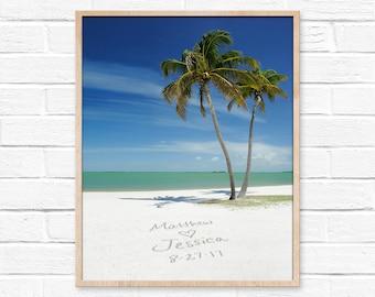 Tropical Beach Wall Print, Personalized Art, Sand Writing, Beach Decor, Personalized Couples Gift, Custom Beach Gift, Tropical Decor