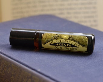OLD BOOKS Natural Perfume Oil - Notes of Aromatic Woods, Soft Vanilla, and Leather (Available in 2 Sizes)