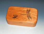 Wooden Box With an Engraved Dragonfly of Cherry - Handmade Wood Box by BurlWoodBox - Treasure, Jewelry or Keepsake Storage - Wood Gift Box