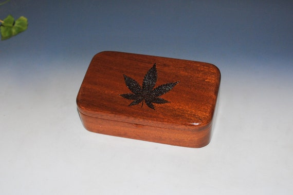Cannabis Leaf Engraved Wooden Treasure Box of Mahogany - Small Stash or Jewelry Box by BurlWoodBox