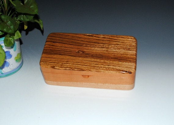 Handmade  Wood Box With Tray - Jewelry Box, Stash Box, Treasure Box - Handmade Wooden Box of Zebrawood on Cherry by BurlWoodBox - Wooden Box