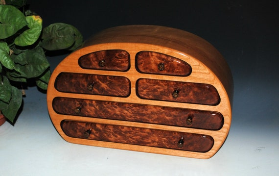 Handmade Solid Cherry Large Wood Jewelry Box with Redwood Burl by BurlWoodBox - Large Wooden Jewelry Box