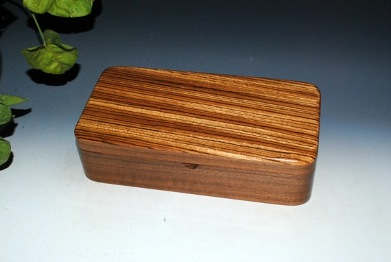 Wooden Box of Zebrawood on Walnut With a Tray  - Handmade Box With Lid by BurlWoodBox - USA Made -  Great Guy Gift - Walnut Box With Tray