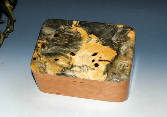 Wooden Box with Tray of Cherry and Buckeye Burl  - Handmade in The USA by BurlWoodBox