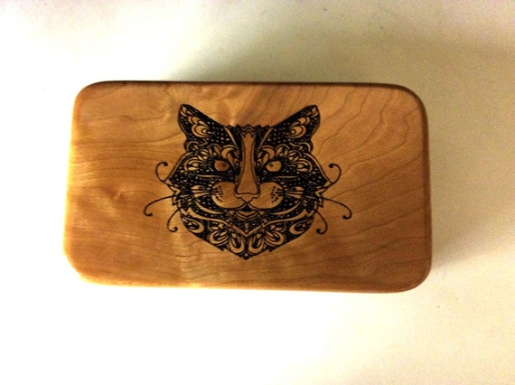 Wood Box of Cherry With Engraved Cat Face in Paisley Style by BurlWoodBox - The PurrFect Gift For Your Cat Crazy Freind or Maybe Your Vet
