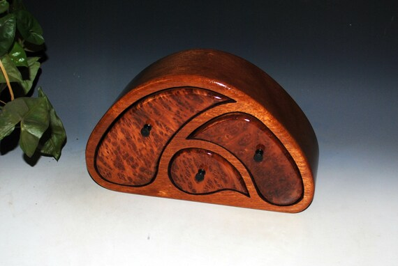Wooden Jewelry Box of Redwood Burl on Mahogany in our TriOval Style - Handmade Wood Box With Drawers by BurlWoodBox - Unique Unisex Gift !