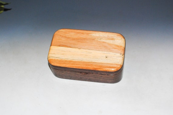 Spalted Elm on Walnut Wooden Trinket Box - Handmade in the USA by BurlWoodBox - Great Gift !