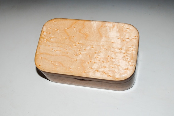 Wood Trinket Box of Birdseye Maple on Walnut - Handmade Wooden Box With Hinged Lid by BurlWoodox - Boxes Are Great Gifts !