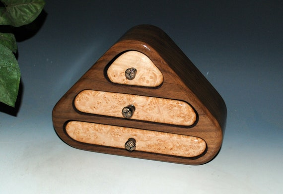 Small Wooden Jewelry Box of Maple Burl on Walnut With Three Drawers