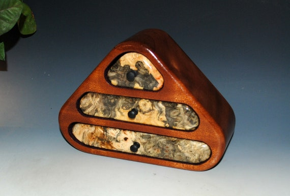 Small Wooden Jewelry Box of Mahogany And Buckeye Burl With Three Drawers