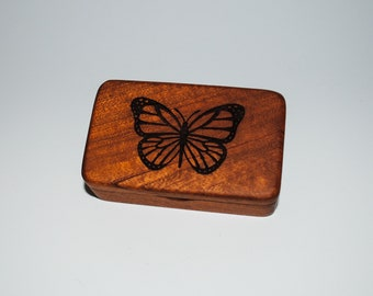 Small Wooden Box With Butterfly Engraving on Mahogany - Handmade Tiny Wood Box With Food Grade Finish - Small Gift or Present