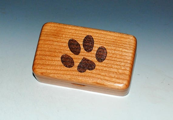 Small Wood Box With Engraved Paw Print With a Heart Box of Cherry by BurlWoodBox - Little Wood Gift for Pet Parents!