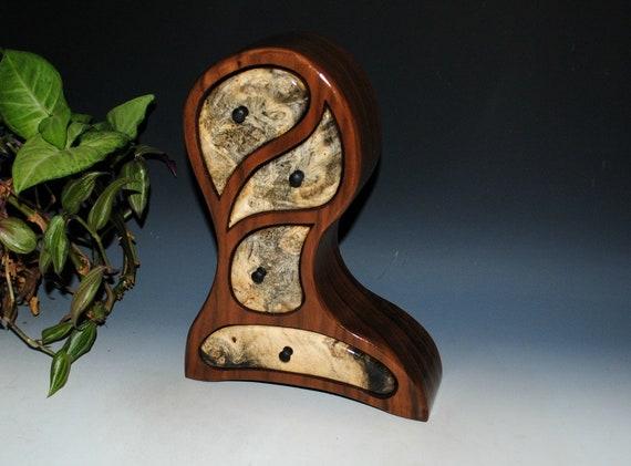 Jewelry Box - Wooden Jewelry Box - Buckeye Burl on Walnut Picasso Style Art Jewelry Box, Wood Jewelry Box, Jewelry Storage Box-Wood Gift Box