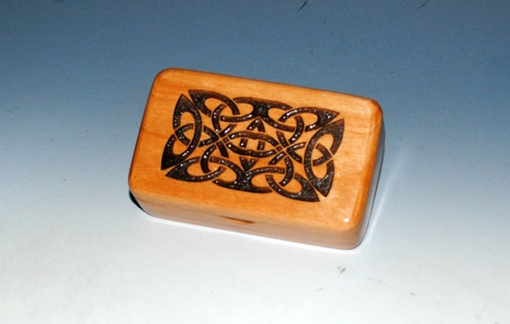 Wooden Box - Wood Box With Celtic Knot on Alder - Gift Box, Jewelry Box, Keepsake Box, Small Box, Endless Knot Box, Stash Box, Handmade Box